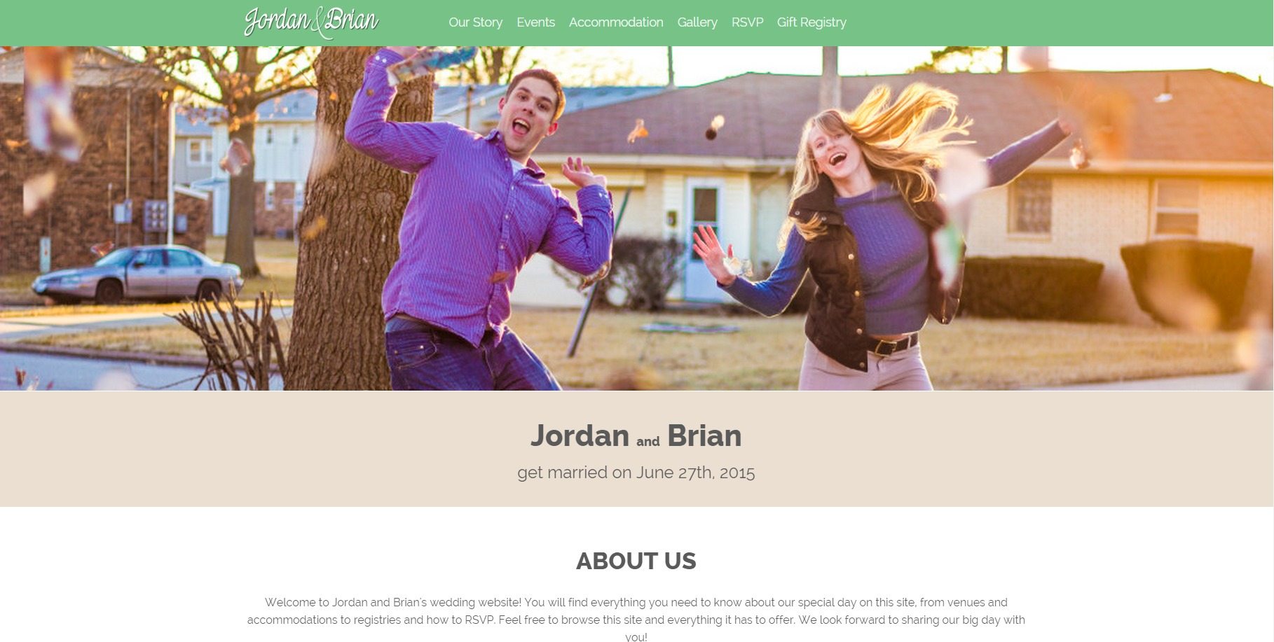 Brian and Jordan Wedding Website