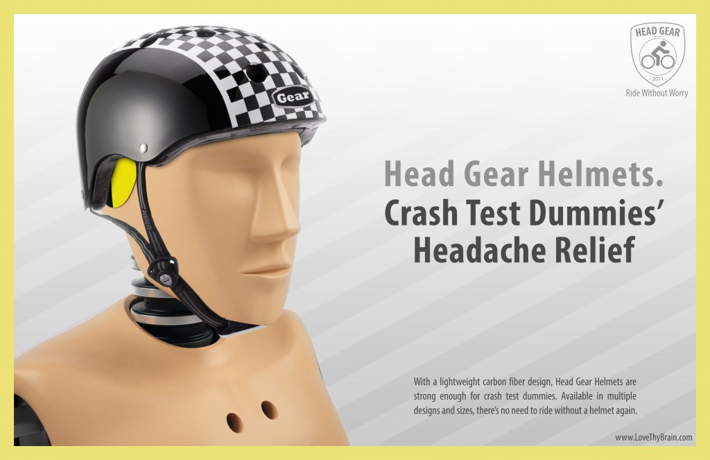 Head Gear Helmets Crash Test Dummy Ad