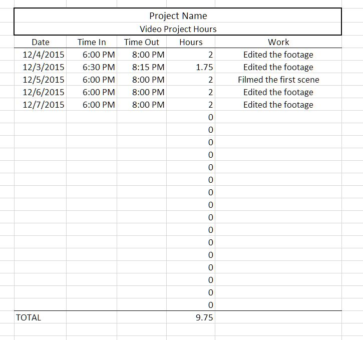 Logging Project Hours in Excel