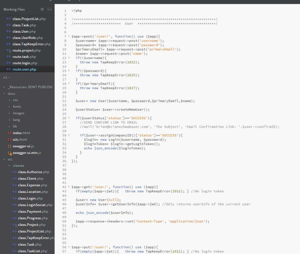 A screenshot of Tap Keep code
