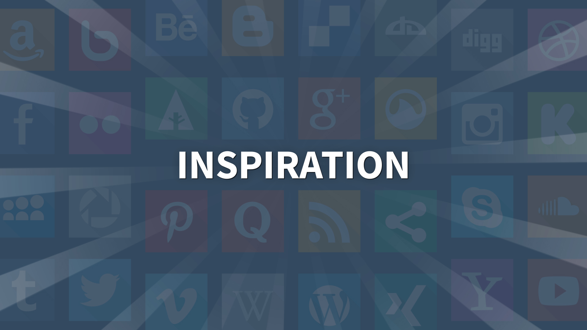 """The word """"inspiration"""" in front of several social media icons"""