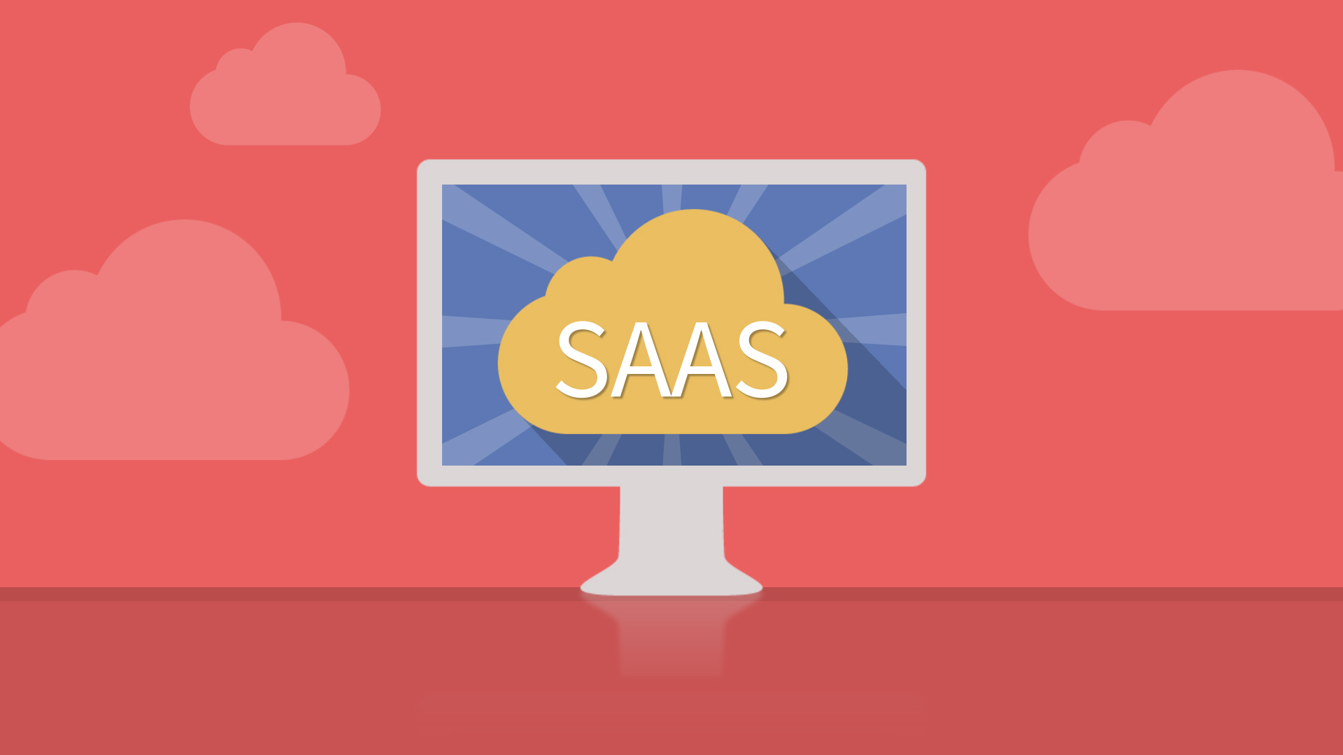 "A graphic of a desktop with the word ""SAAS"" on it"