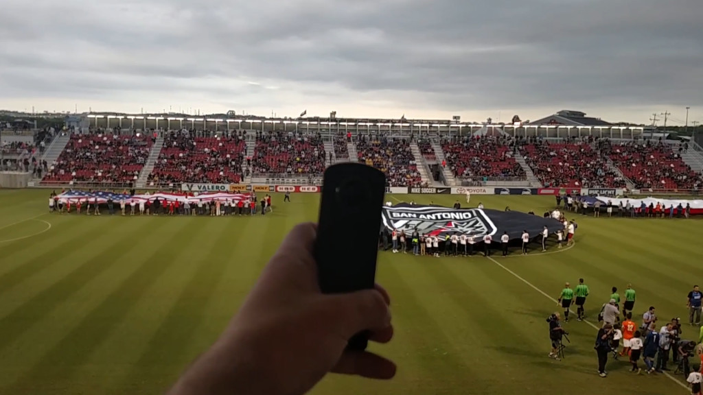 The Theta 360 camera films a soccer game