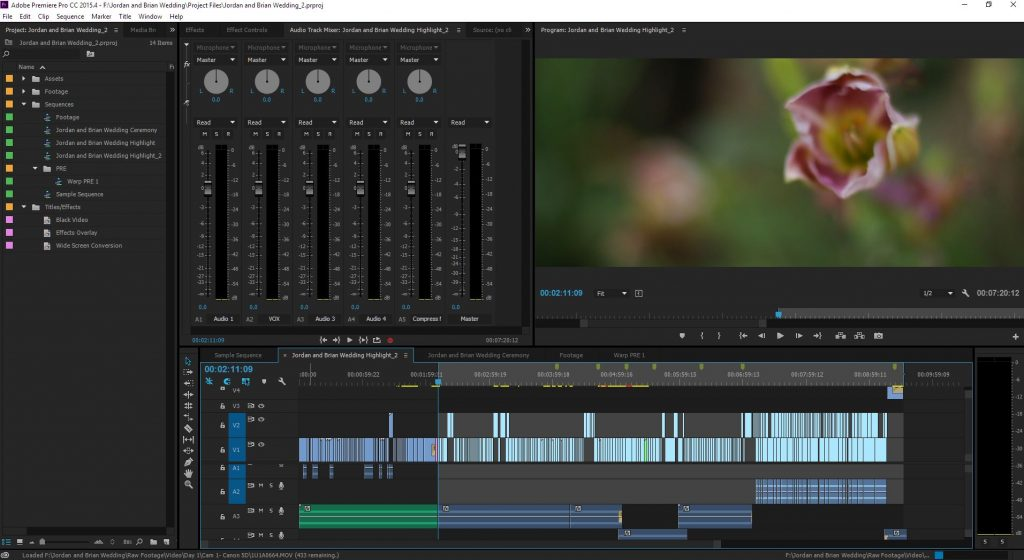 A screenshot of Adobe Premier editing timeline